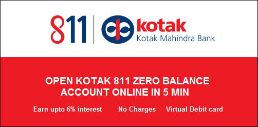 Kotak 811 Zero balance savings account